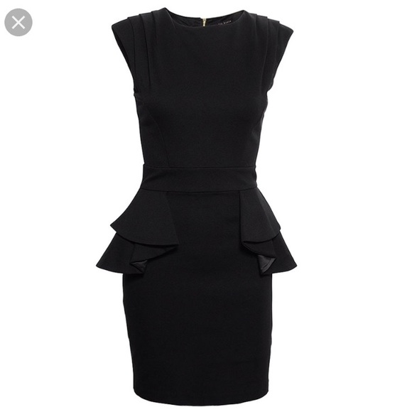 36603e1ee Ted Baker Judia Peplum Dress in Black. M 5b46c1ebbb761502f3e4d3af